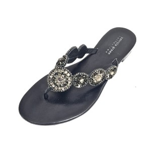 Patricia Green Leather Rhinestones Brown and Silver Sandals