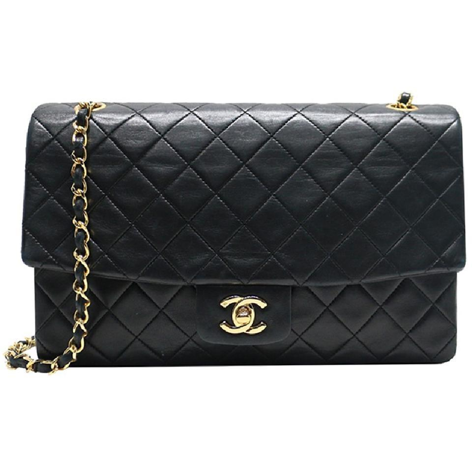 c15be23f23283a Chanel Classic Vintage Quilted Medium Single Flap Black Lambskin Leather  Shoulder Bag
