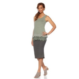 Daisy Fuentes Lace Trim Sleeveless Green Chiffon Top Olive