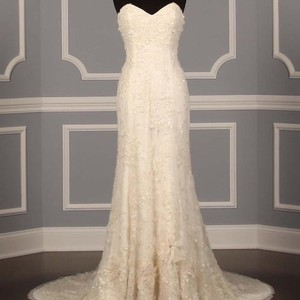 CHRISTOS Light Ivory Beaded Chantilly Lace with Tulle Overlay Sexy Wedding Dress Size 6 (S)