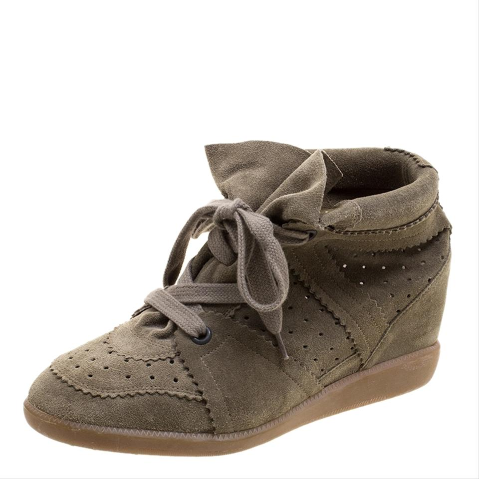 a8f584f873 Isabel Marant Brown Khaki Suede Etoile Bobby Sneakers Wedges Size EU ...