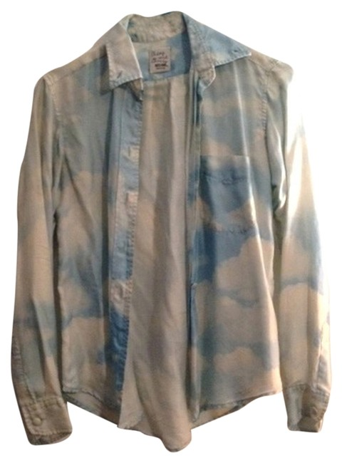 Item - Blue and White Clouds Silk Blouse Cheap Chic Button-down Top Size 4 (S)