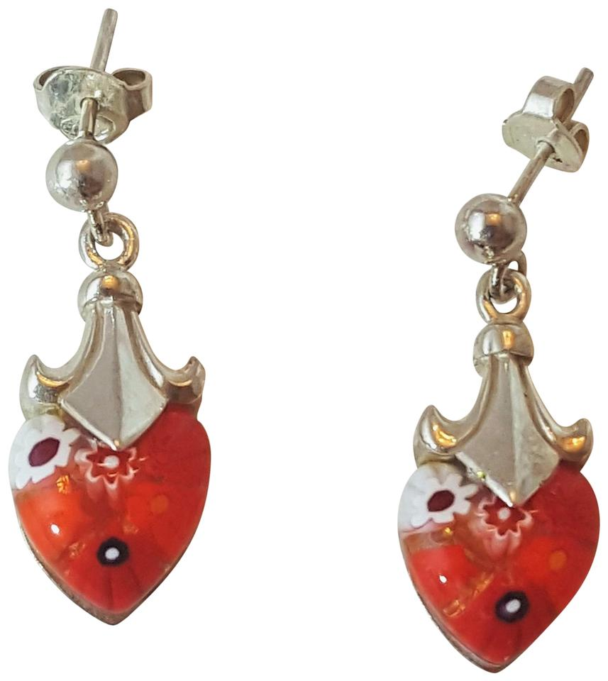 Other Stunning Vintage Sterling Silver Millefiori Heart Shaped Earrings