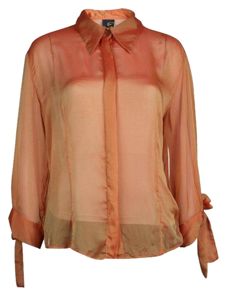 e0eab299b00 Just Cavalli Orange Crinkled Chiffon Long Sleeve Sheer Blouse Size 14 (L)  66% off retail