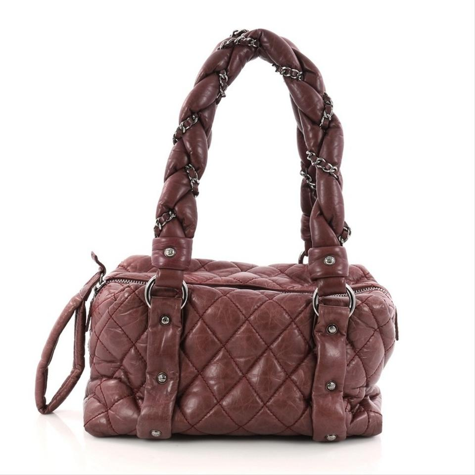 4b50eda7e8 Chanel Lady Braid Bowler Quilted Distressed Small Burgundy Lambskin ...