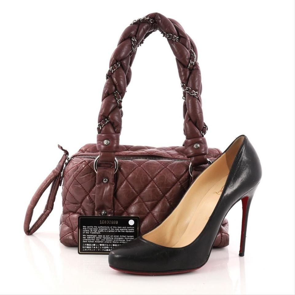 c162522f77a4 Chanel Lady Braid Bowler Quilted Distressed Small Burgundy Lambskin ...