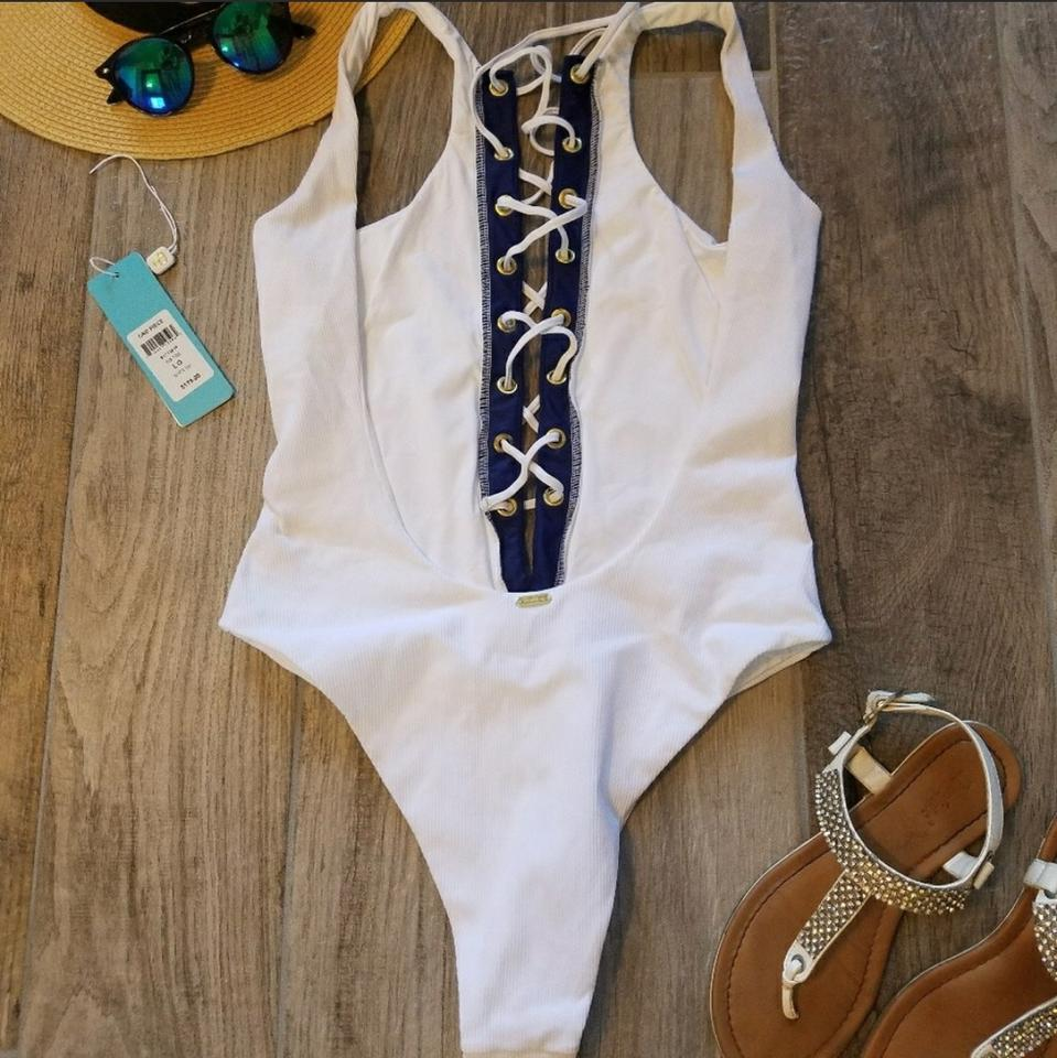 d2f7f1a5bafaa Beach Bunny White and Navy Blue Rib Tide Swimsuit One-piece Bathing ...