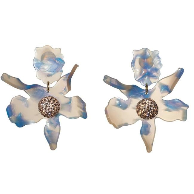 Item - Multi Color Crystal Lily Gold Plated Clip Earrings