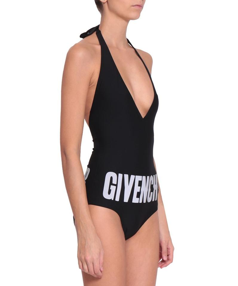 8a27092257fdc Givenchy Black Logo Deep Plunge Swimwear Swimsuit 36 Fr One-piece ...