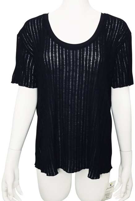 Item - Black W Collection W&b Ribbed Open Weave Sleeve Linen Tee Shirt Size 12 (L)