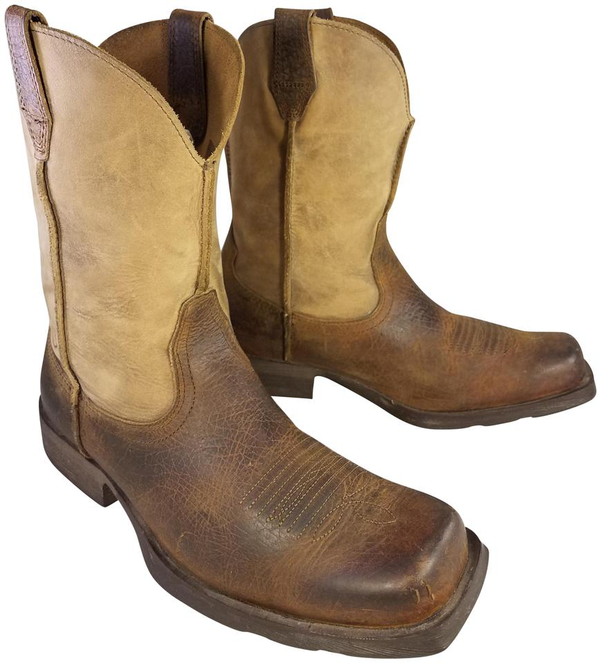 efd5fbffdc6 Ariat Brown and Beige Men's Squared Toe Western Cowboy Heritage 10 1/2 Ee  Boots/Booties Size US 10.5 Extra Wide (Ww, Ee)