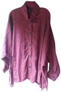 Dress To Kill Red Linen Button Up Button Down Shirt Burgundy