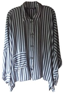 Dress To Kill Button Up Linen Button Down Shirt Black and Grey