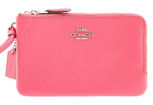 Coach COACH Polished Pebble Leather Double Corner Zip Wallet in Magenta