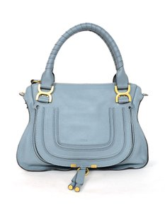 Chloé Medium Saddle Leather Satchel in blue