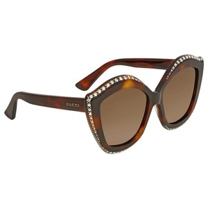 Gucci Swarovski Clear Crystal Trim Cat Eye Ladies Sunglasses