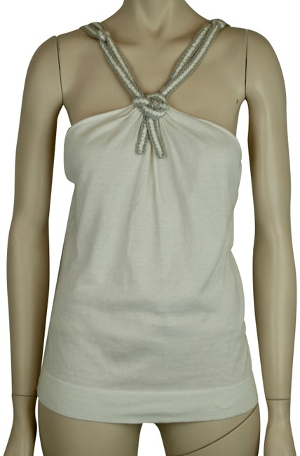 Item - White Grey Silver Cotton Linen Sleeveless Spaghetti Tank Top/Cami Size 8 (M)