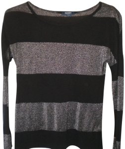 Old Navy Long Sleeve Metallic Striped T Shirt Black/Silver