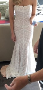 Watters Off White with Rose Gold Lining Lace Pippin Feminine Wedding Dress Size 2 (XS)