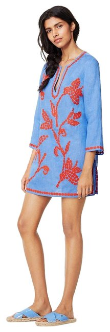 Item - Blue Red Embroidered New Linen Tunic Swimsuit Beach Cover-up/Sarong Size 6 (S)