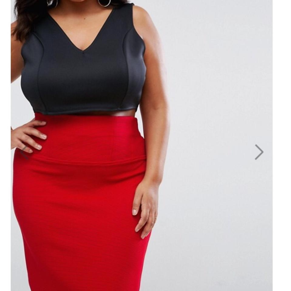f6ee5937993 ASOS Red Curve High Waist Jersey In Rib Skirt Size 24 (Plus 2x) - Tradesy