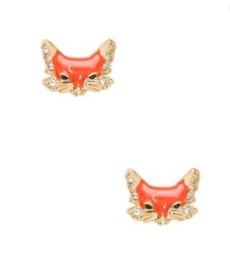 Kate Spade KATE SPADE 12K Gold Plated Into The Woods Fox Stud Earrings