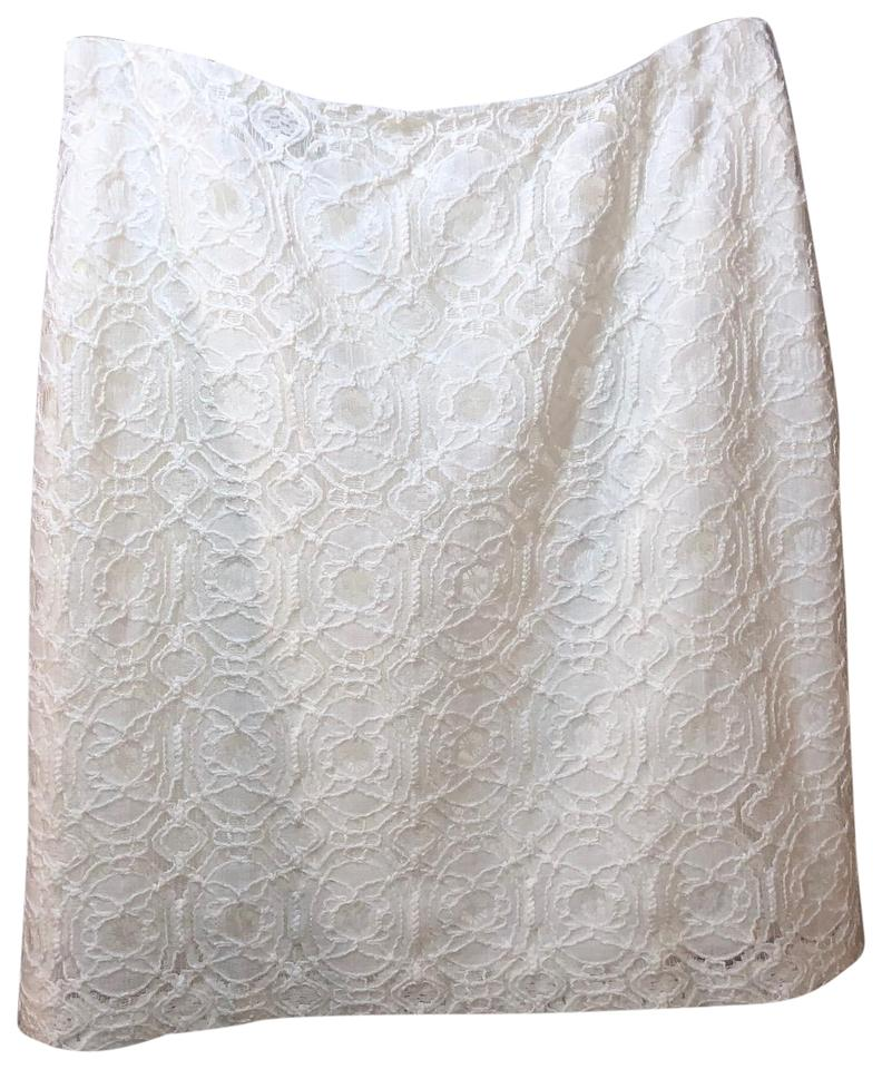 Saks Fifth Avenue Lace Summer Mini Skirt White