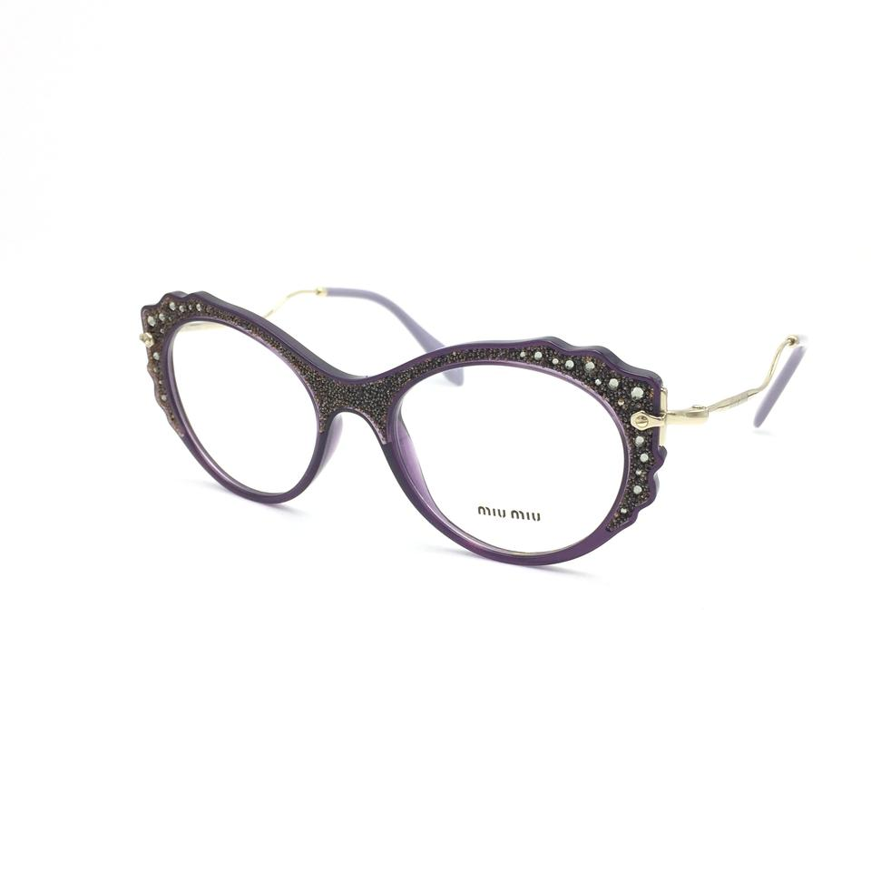 8839c80d260 Miu Miu Purple Gold Crystal Encrusted Cat Eye Rx Eyeglasses Frame VMU01P  Image 0 ...
