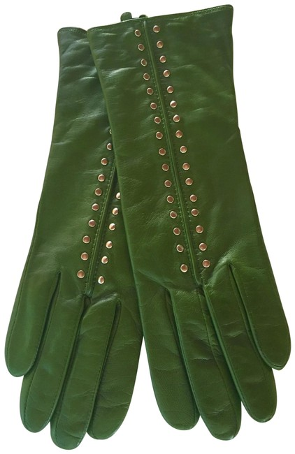 Item - Emerald Green Leather Studded Gloves