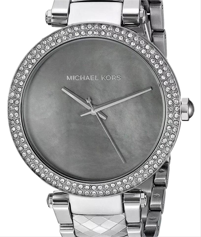 79bb477abaa Michael Kors Silver New Mk6424 Parker Chronograph Mop Crystal Stainless  Womens Watch