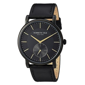 Kenneth Cole KC50066005 Mens Black Leather Band With Black Analog Dial Watch