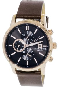 Kenneth Cole KCC0134001 Unisex Brown Leather Band With Black Analog Dial Watch