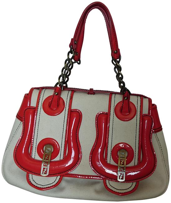 Item - White/Red Canvas + Patent Leather Satchel