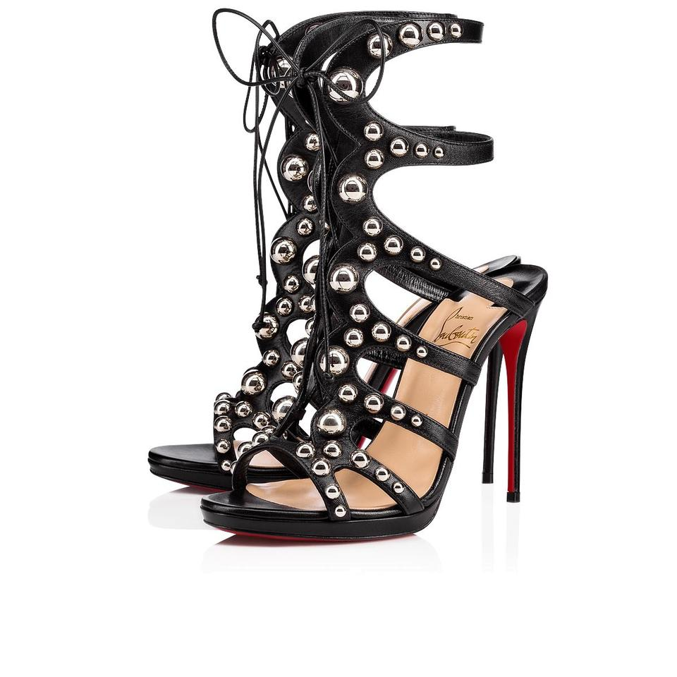 new arrival bd205 cfaf6 Christian Louboutin Black Amazoubille 120 Silver Studded Lace Up Tie  Gladiator Sandal Heel Pumps Size EU 37 (Approx. US 7) Regular (M, B)
