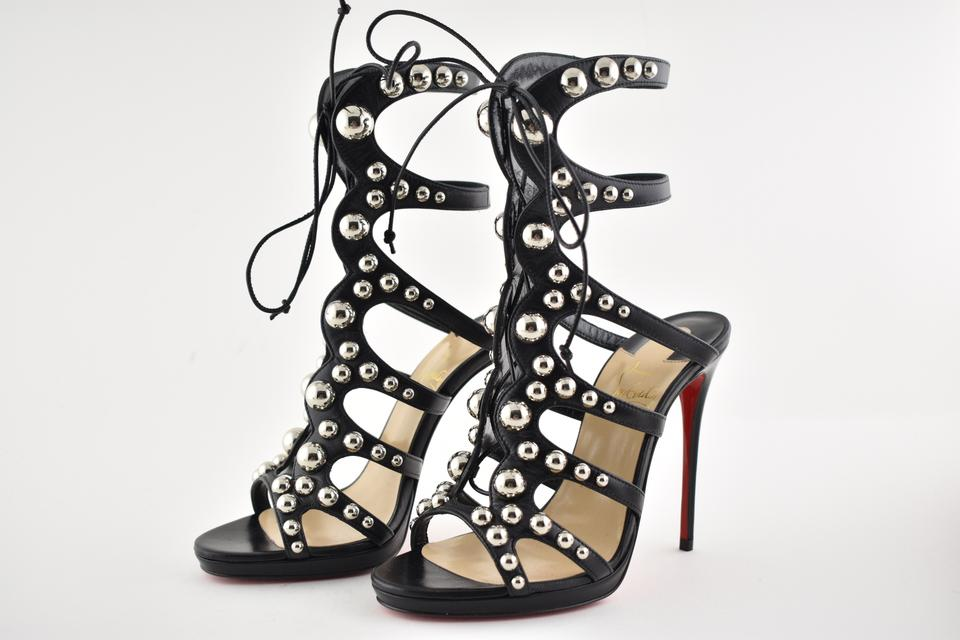 628fe83a8acb Christian Louboutin Black Amazoubille 120 Silver Studded Lace Up Tie  Gladiator Sandal Heel Pumps Size EU 37 (Approx. US 7) Regular (M