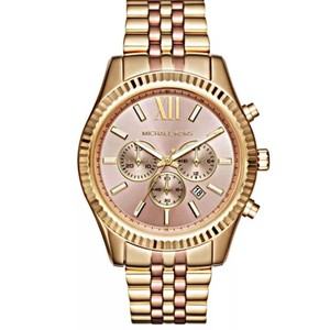 Michaels New Michael Kors Ladies Lexington Gold and Rose Gold Chronograph Watch MK6473
