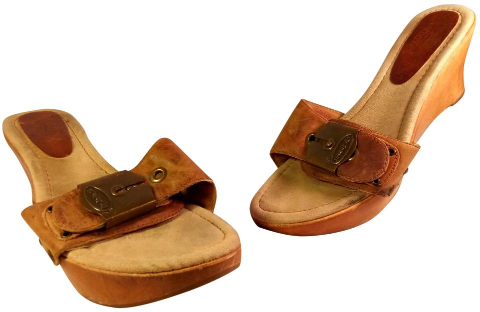 c4b428d5ef800b Dr. Scholl s Brown Tan Leather   Wooden Wedge Sandals Size US 9 ...