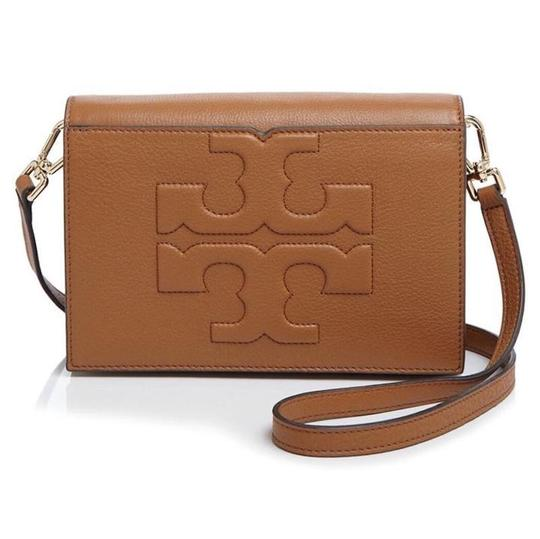 Brand new Tory Burch T Bombe Logo Purse New Tan Brown Leather Cross Body Bag  CL37