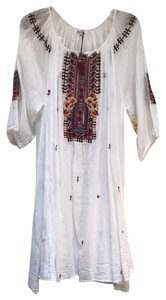 Johnny Was short dress white Cotton Embroidered Flowy Boho on Tradesy
