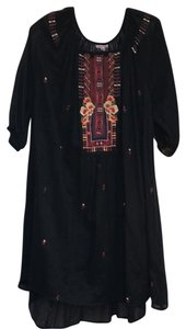 Johnny Was short dress black Embroidered Cotton Tunic Boho Flowy on Tradesy