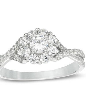 Zales White Diamond Cluster From Engagement Ring