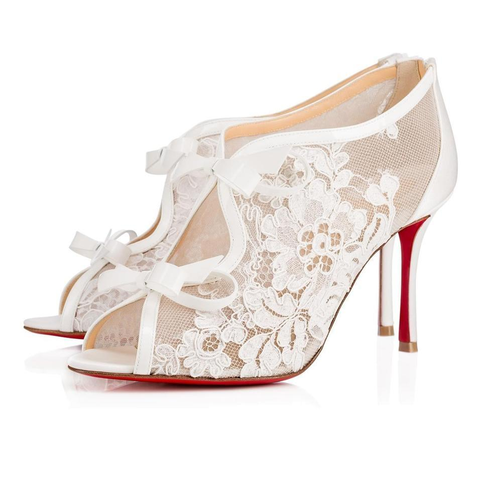 Pumps Booties 85mm Peep Lace Empira toe White Christian Classic Leather and Louboutin Bow UaqZx7w1Wx
