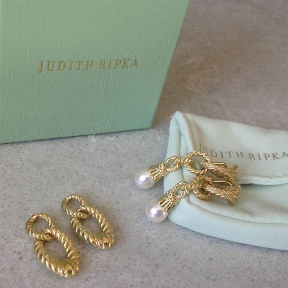 92e60e567 Judith Ripka Cultured Pearl and Status Link Interchangeable Earrings Image  0 ...