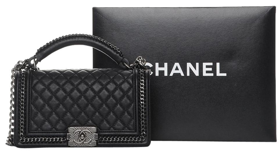 04643d19d6dae0 Chanel Top Boy Flapbag with Handle Black Calfskin Leather Cross Body ...