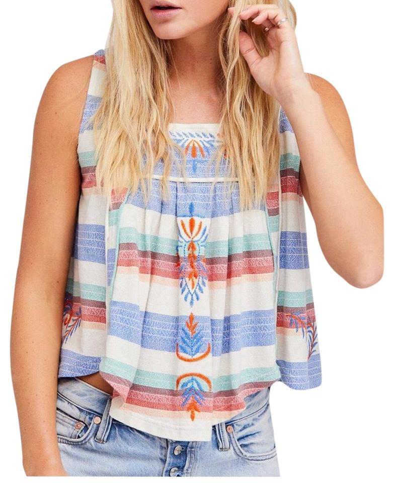 5eb7ef6e04013 Free People Ivory Blue and Red Vintage Striped Cotton Tank Top Cami ...