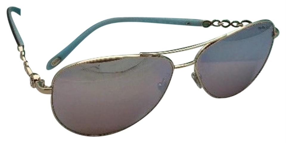6246f6defff8 Tiffany   Co. Tf 3049-b 6091 64 Gold Blue Tortoise Aviator W  Mirror ...