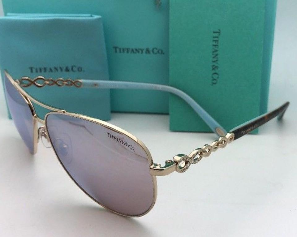 9615a5b003b3 Tiffany   Co. Tf 3049-b 6091 64 Gold Blue Tortoise Aviator W  Mirror  6091 64 Sunglasses - Tradesy