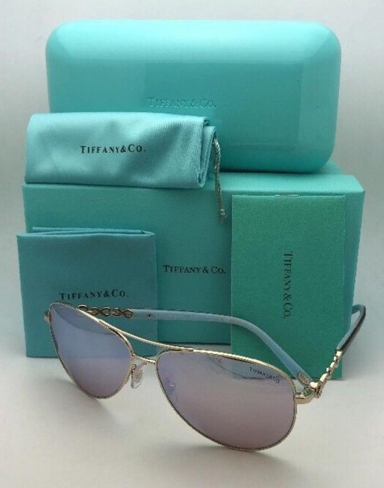 97be41639b5 Tiffany   Co. Tf 3049-b 6091 64 Gold Blue Tortoise Aviator W  Mirror ...