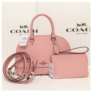 Coach Leather Set Gift Set Gift Box Matching Set Satchel in Blush Pink