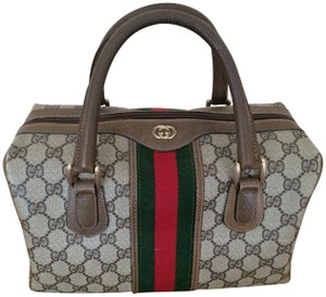 595ac471f6f6 Gucci Boston Vintage Doctor Signature Brown Gg Web Cloth and Leather ...
